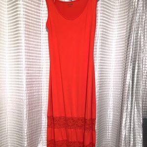 Orange Maxi Dress with Lace Inset